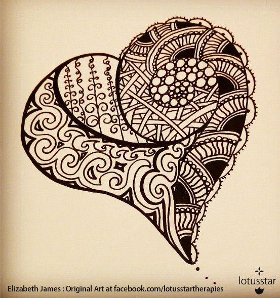 'Heart Doodle' in ink by Elizabeth James.   #heart #zentangle #doodle #ink #art #elizabethjames #lotusstar #adelaide