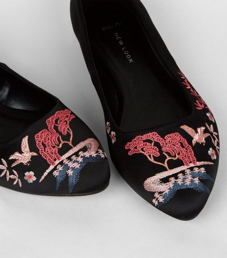 Wide Fit Black Satin Embroidered Pointed Pumps | New Look