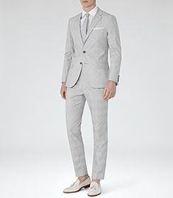 Mens Grey Checked Tailored Trousers - Reiss Robbie T
