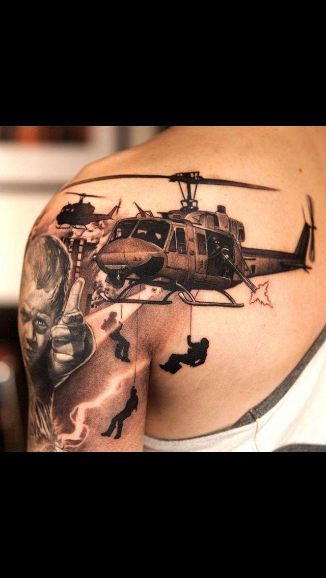 Dig this. Military Tattoo. Navy. Army. Marines. Coast guard
