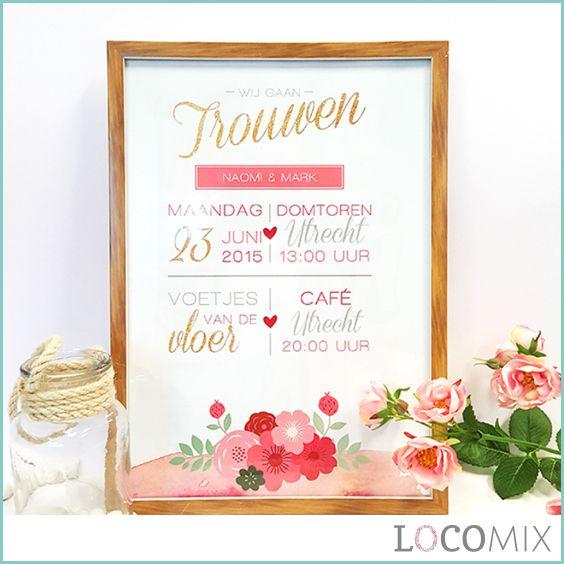 Een huwelijksuitnodiging maar dan in een super groot formaat. Maak jullie huwelijksdatum op een spectaculaire wijze bekend met deze Trouwposter Trouwkaart. De huwelijksgasten zullen de poster ontvangen in een mooie koker, waarvan ze zeker nieuwsgierig zullen raken wat er in zit. Personaliseer de poster volledig naar jullie wensen op LocoMix.nl!