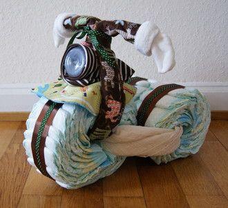 DIY Babygeschenk: Windel-Motorrad - toile giraffe