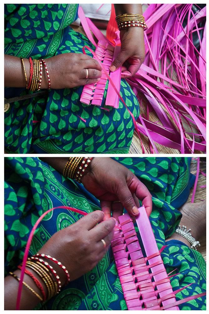 The new strips of the palm leaves are interweaved to the weaved base and the process is continued.