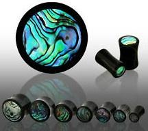 BLACK ORGANIC HORN W/ ABALONE SHELL INLAY EAR GAUGES PLUGS