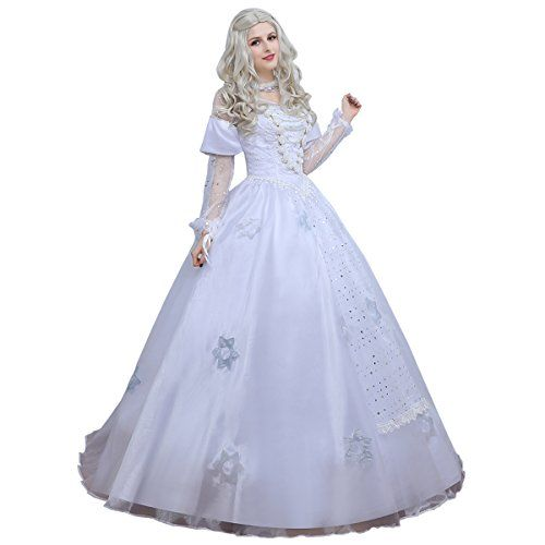 Angelaicos Womens White Queen Costume Long Lace Bridal Dress Luxury Gown L For More Information Visit Image Link Affiliate