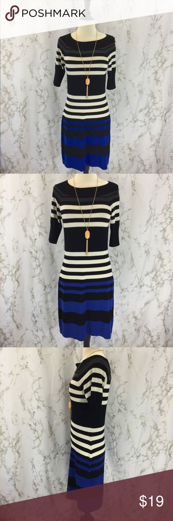 Allison Brittney Striped sweater dress Royal blue, grey, cream, and black striped sweater dress. Size Small. Brand is Allison Brittney. Approximately 36 inches long, 16 inches armpit to armpit, 28 inch waist, 38 inch hips. Short sleeves, scoop neck. Excellent used condition.  Please ask any questions. Offers welcome. Thanks for shopping my closet! Allison Brittney Dresses Midi