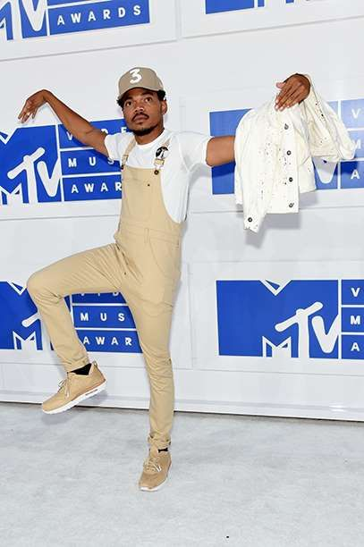 Chance the Rapper rocked overalls like very few can, pairing his khaki onesie with a white T-shirt, ... - Jamie McCarthy/Getty Images