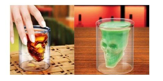2 Pz Bicchiere a forma di Teschio trasparente, Bicchiere a forma di Teschio Pirata trasparente Bicchiere da Cocktail Caraffa da Birra contiene 2.5 once
