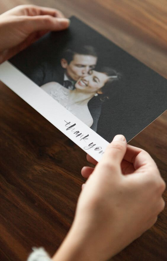 Elegant matte wedding thank you card. Wedding photo ideas.