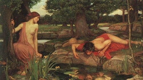 Echo and Narcissus : [i][b]John William Waterhouse[/b][/i]    Date: 1903  Medium: Oil on canvas  Size: 109 x 189 cm  Location: Walker Art Gallery, Liverpool, Merseyside, UK  ***  'Sweet Echo, sweetest nymph, that liv'st unseen  Within thy airy shell  By slow Meander's margent green,  And in the violet-embroidered vale  Where the lovelorn nightingale  Nightly to thee her sad song mourneth well:  Canst thou not tell me of a gentle pair  That likest thy Narcissus are?'  [i]John Milton (1608-16