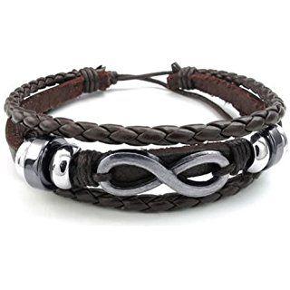 KONOV Bijoux Bracelet Homme - Amour Infini Infinity Symbole Charm Manchette , Convient pour 20-23cm - Cuir - Alliage - Fantaisie - pour Homme et Femme - Chaîne de Main - Couleur Marron Argent