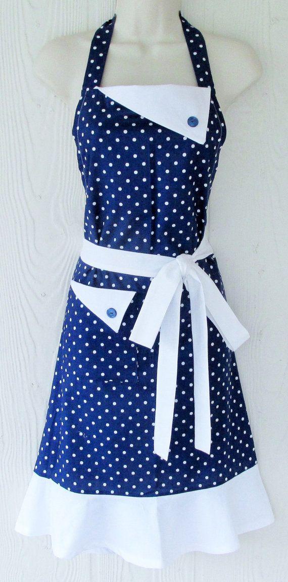 Retro Style Polka Dot Apron, Polka Dot Full Apron, Navy Blue with White Polka…