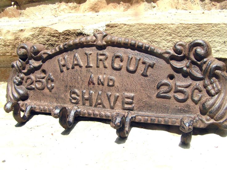 Vintage cast iron barber shop sign & hanger rack