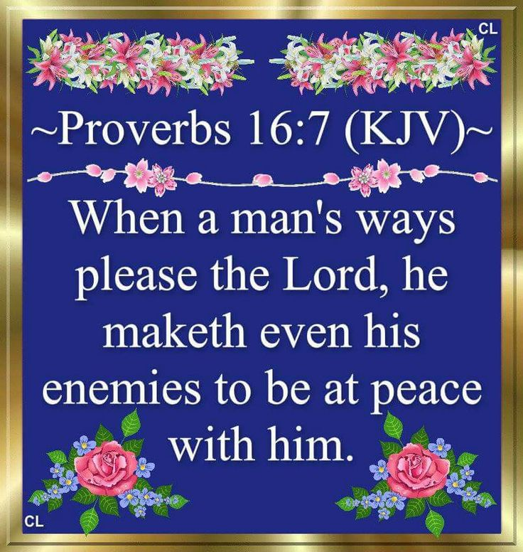 """When a man's ways please the LORD, he maketh even his enemies to be at peace with him.""  Proverbs 16:7"
