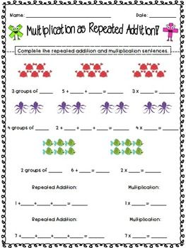 Differentiated Multiplication as Repeated Addition worksheets!