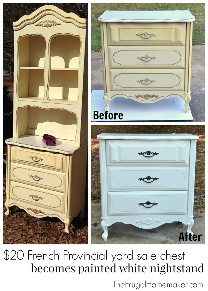 20 French Provincial Yard Sale Chest Becomes Painted White Nightstand Frugal Homemaker Diy