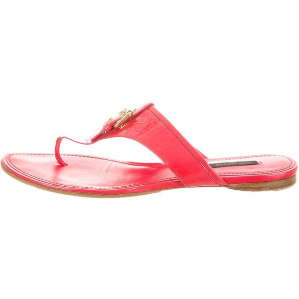 Pre-owned Louis Vuitton Vernis Coral Sandals ($195) ❤ liked on Polyvore featuring shoes, sandals, pink, coral pink sandals, buckle shoes, pink sandals, louis vuitton and buckle sandals