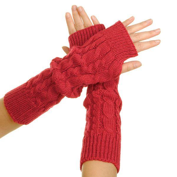 Winter Arm Warmer BRAIDED KNIT Mitten Fingless Gloves