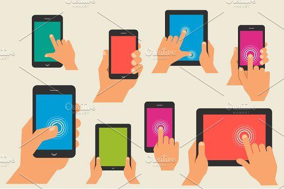 Hand holding smart phone & computers by Marish on @creativemarket