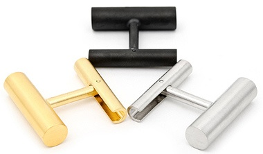 Classici - gemelli da polso a barra neri, argento e oro