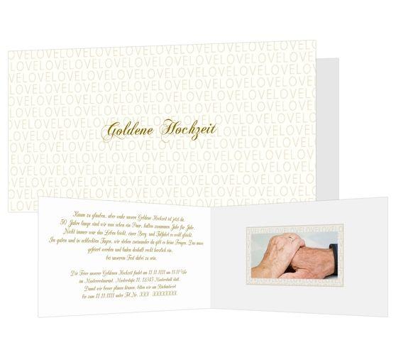 Ein Meer von Liebe Ein Meer von Liebe, so lautet das Motto des außergewöhnlichen Designs. Modern und elegant sprechen die Jubilare die Einladung mit dieser Karte zur goldenen Hochzeit aus.