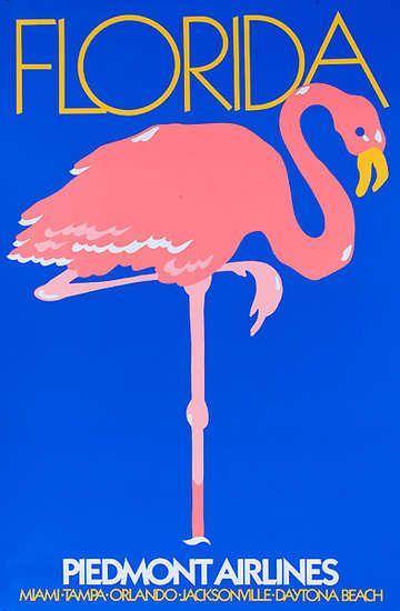 DP Vintage Posters - Piedmont Airlines Original Travel Poster Florida Flamingo large size