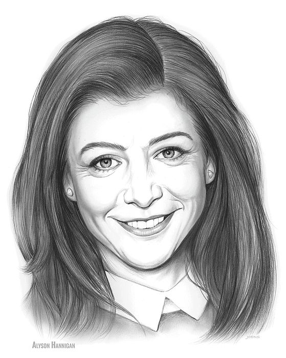 Alyson Hannigan, pencil sketch  (born March 24, 1974) is an American actress. She is best known for her roles as Willow Rosenberg on the television series Buffy the Vampire Slayer (1997–2003), Lily Aldrin on the sitcom How I Met Your Mother (2005–2014), and Michelle Flaherty in the American Pie film series (1999–2012).