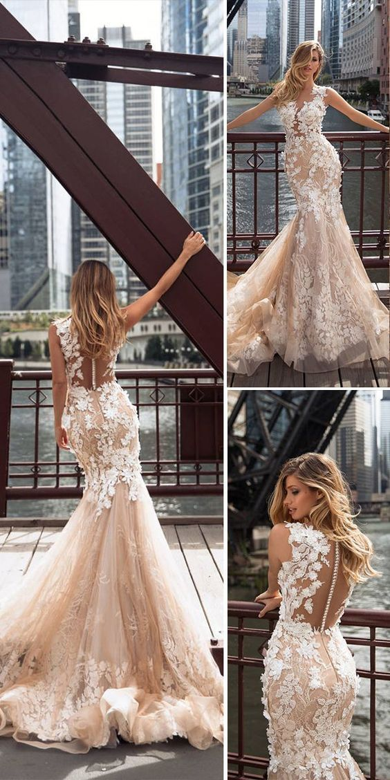 Pink flower wedding dresses , mermaid wedding dresses recommendation for 2018. Every girl has a mermaid wedding dresses dream, hoping herself could become a true beautiful mermaid in her big day. It is so fantastic if you realize your dream. Wish you have a happy and perfect wedding ceremony and get inspired from the following gallery. #mermaidweddingdresses #beautifulweddingdresses