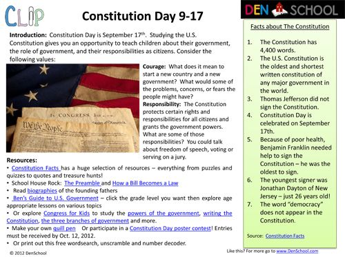 constitution day sept 17th clip creative learning in a pinch resources and worksheets free. Black Bedroom Furniture Sets. Home Design Ideas