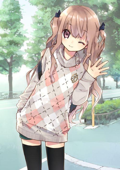 ✮ ANIME ART ✮ clothes. . .cute fashion. . .oversized sweater. . .long hair. . .hair ribbons. . .thigh high stockings. . .cute. . .kawaii