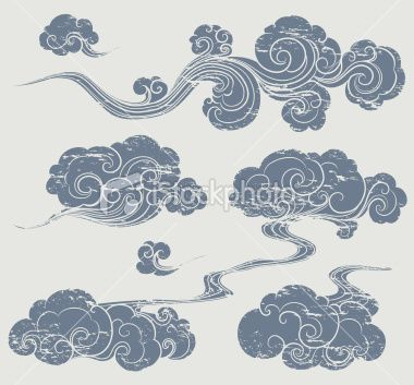 Colors reversed Asian inspired clouds