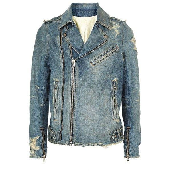 Balmain Distressed Denim Biker Jacket (6.034.860 COP) ❤ liked on Polyvore featuring men's fashion, men's clothing, men's outerwear, men's jackets, balmain mens jacket and mens distressed denim jacket
