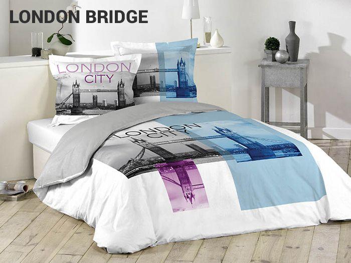 Modne białe pościele bawełniane z miastem Londyn