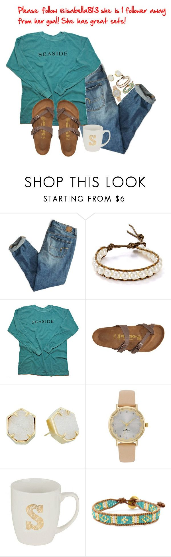 """""""Please follow her!"""" by nailsforashleywest on Polyvore featuring American Eagle Outfitters, Chan Luu, Birkenstock, Kendra Scott and Kate Spade"""