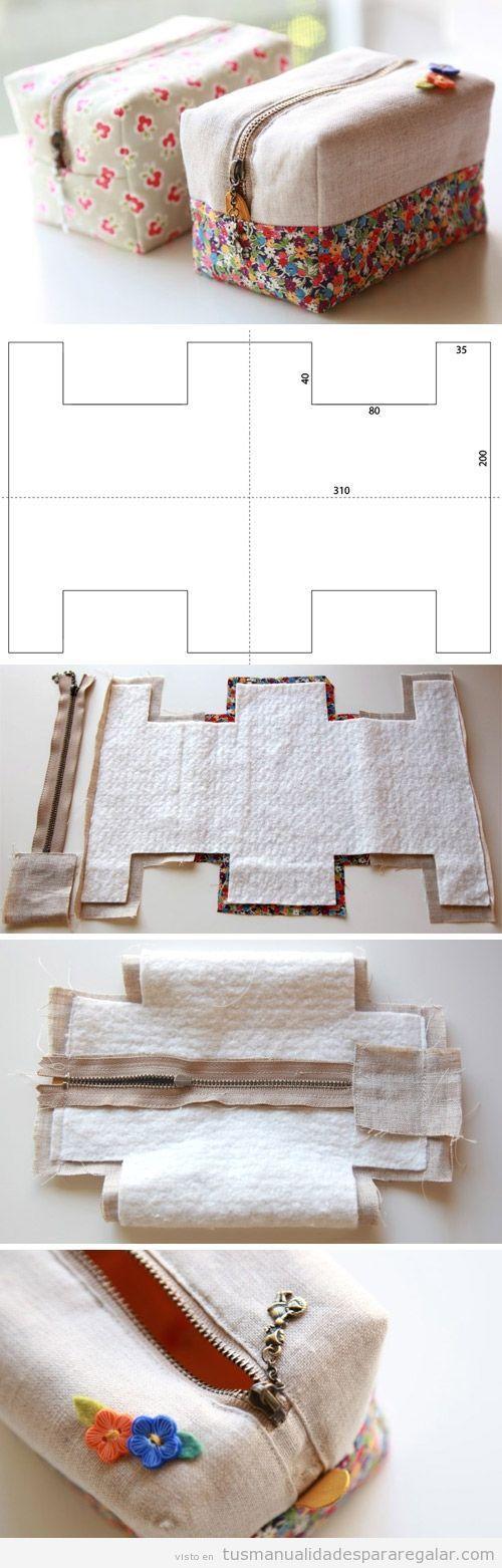 Tutorial monedero de tela cuadrado con cremallera