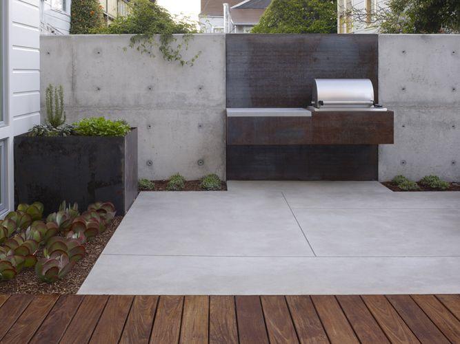 Cor ten steel bbq materials pinterest concrete walls for Garden design ideas bbq