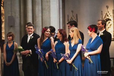 bridesmaids in blue dresses in church