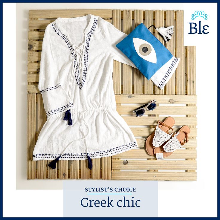 "Go ""greek chic"" with a dress inspired by the deep blue sea of the Aegean, lace leather sandals and cool wooden sunglasses! Find them all here www.ble-shop.com #stylistschoice #blestyle"