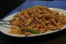 Shanghai fried noodles (Chinese: 上海粗炒; pinyin: Shànghǎi Cūchǎo) is a dish made from Shanghai-style noodles, which can be found in most Chinese food markets. The more commonly known Japanese udon can be used as a substitute. The noodles are stir-fried with beef cutlets, bok choy, and onion. The dish is a staple of Shanghai cuisine, which is usually served at dumpling houses.