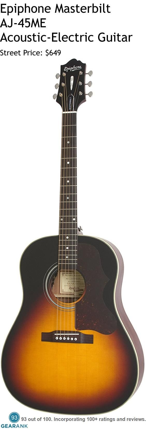 "Epiphone Masterbilt AJ-45ME Acoustic-Electric Guitar.  Epiphone's first Ltd. Ed. reissue of the ""The Workhorse"" J-45 earned it a ""Mark of Excellence Award"" from Guitar One magazine and now the new Masterbilt 2015 AJ-45ME Acoustic/Electric brings two legends together for the first time!  For a Detailed Guide to The Best Acoustic Guitars see https://www.gearank.com/guides/acoustic-guitars"
