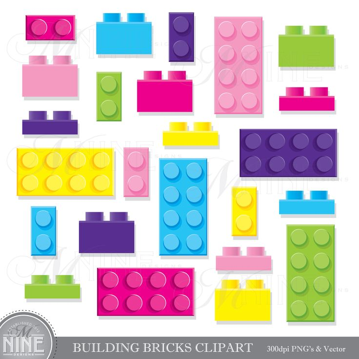 GIRL BUILDING BRICKS Clip Art Building Bricks Clipart Downloads Kids Toy Party Vector
