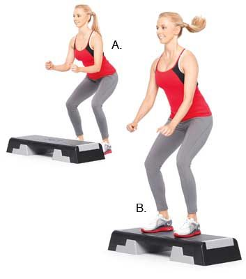 Step hops. Works: Cardio, calves, hamstrings, glutes and abdominals #fitness