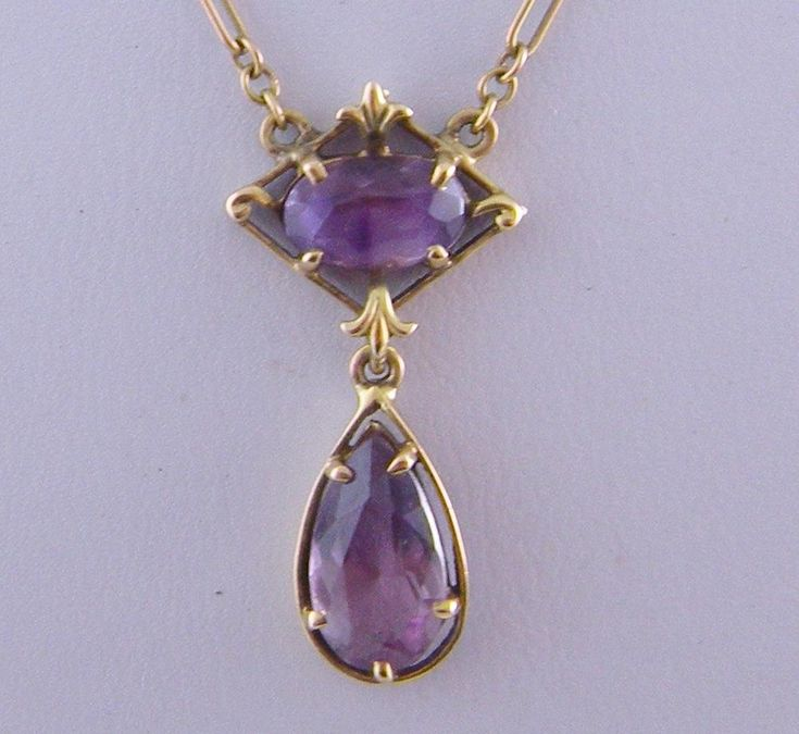 Antique 14 Kt Gold Chain with Amethyst  LAVALIER NECKLACE
