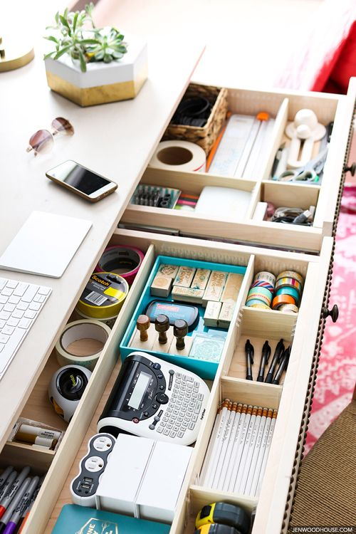 Wooden Desk Drawer Organizer