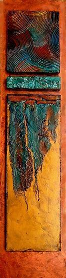 Esta pintura se inspira en las minas de mineral de hierro del norte de Minnesota, cerca de donde crecí. Se puede ver que es a la vez múltiples capas y multitextured. Numerosos elementos de collage se incluyen tales como el hierro oxidado, tyvek, y el compuesto acrílico con textura modelado. Llega listo para colgar.