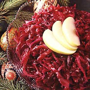 German Red Cabbage Recipe - I used butter instead of cooking spray, chopped the onion and apple and added cornstarch toward the end of the cooking. Really yummy.