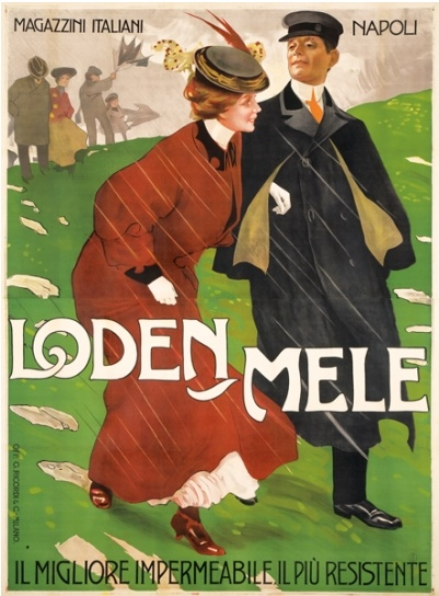 By Leopoldo Metlicovitz, ca 1 9 0 8, Loden-Mele. (Loden raincoats, I.)