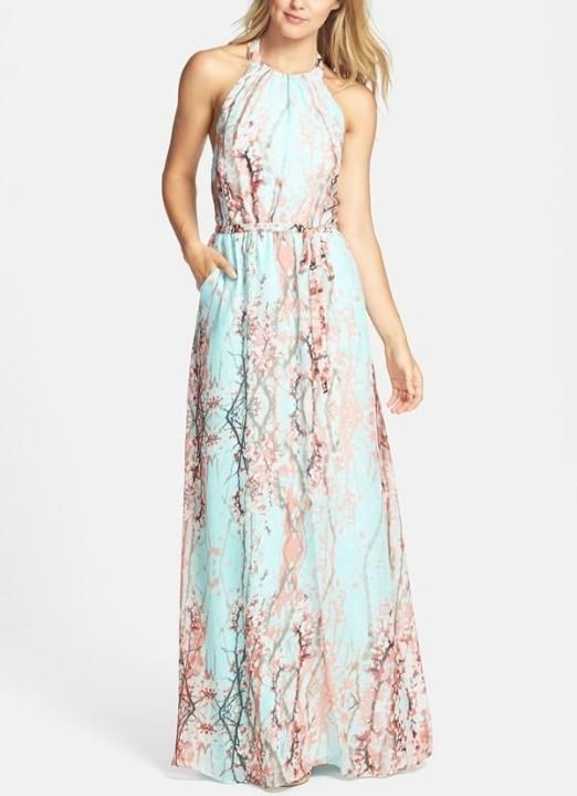 Such a cute cherry blossom maxi dress for spring.