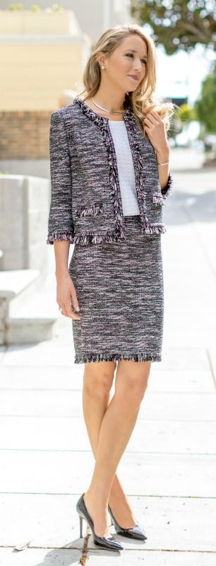 classic tweed fringe skirt suit by #StJohnKnits
