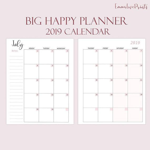 Big Happy Planner Printable 2019 Monthly Refills Calendar 2019
